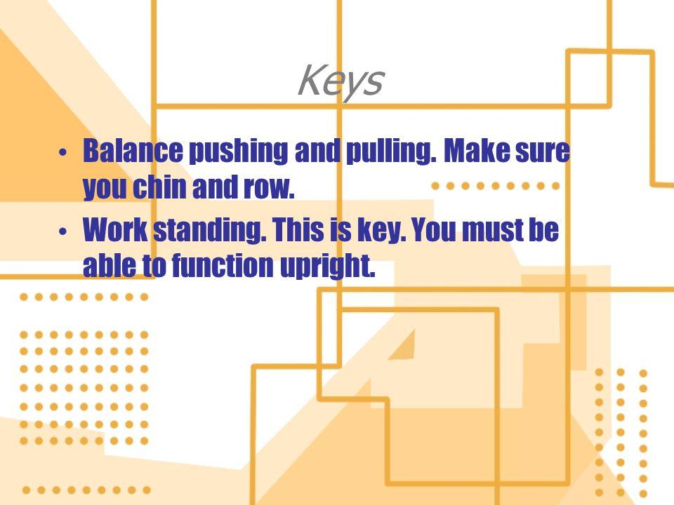 Keys Balance pushing and pulling. Make sure you chin and row.