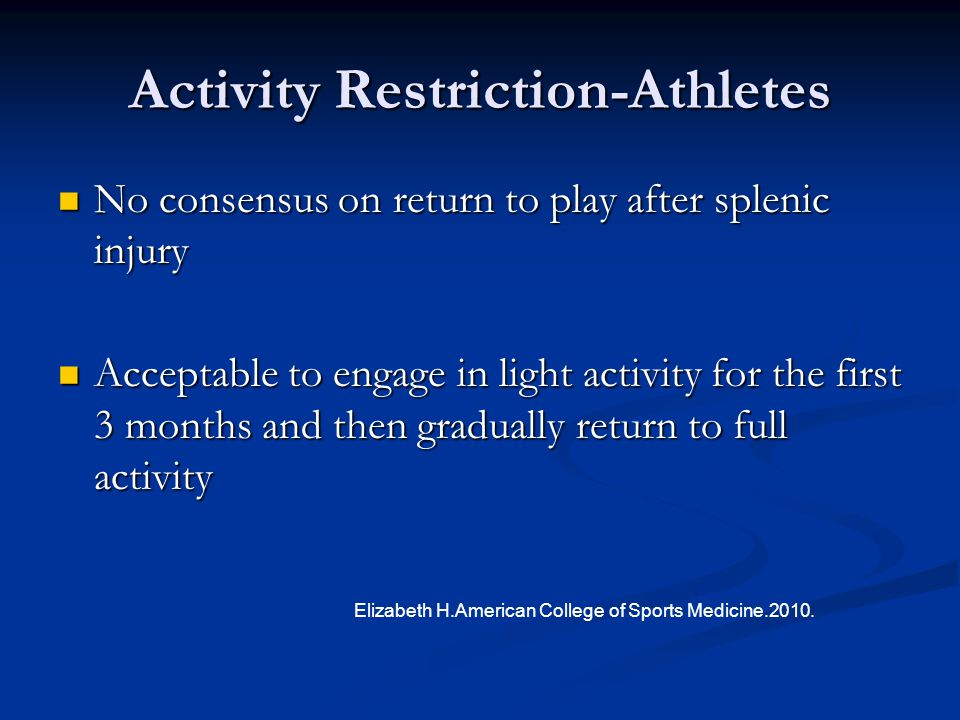 Activity Restriction-Athletes