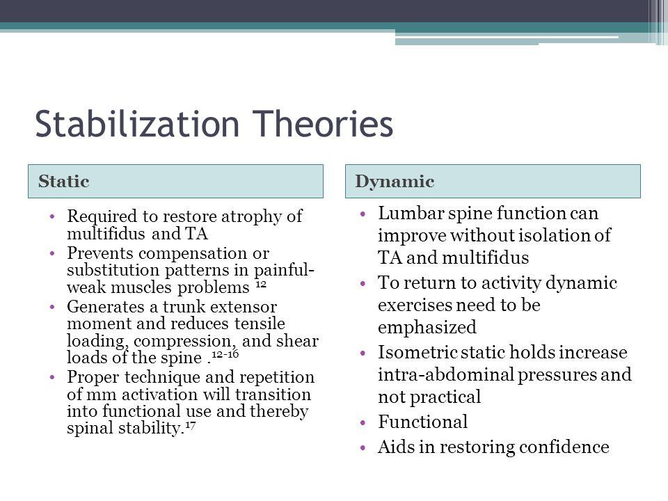 Stabilization Theories