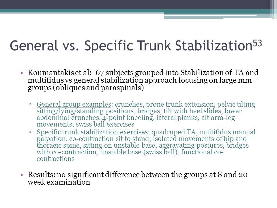 General vs. Specific Trunk Stabilization53