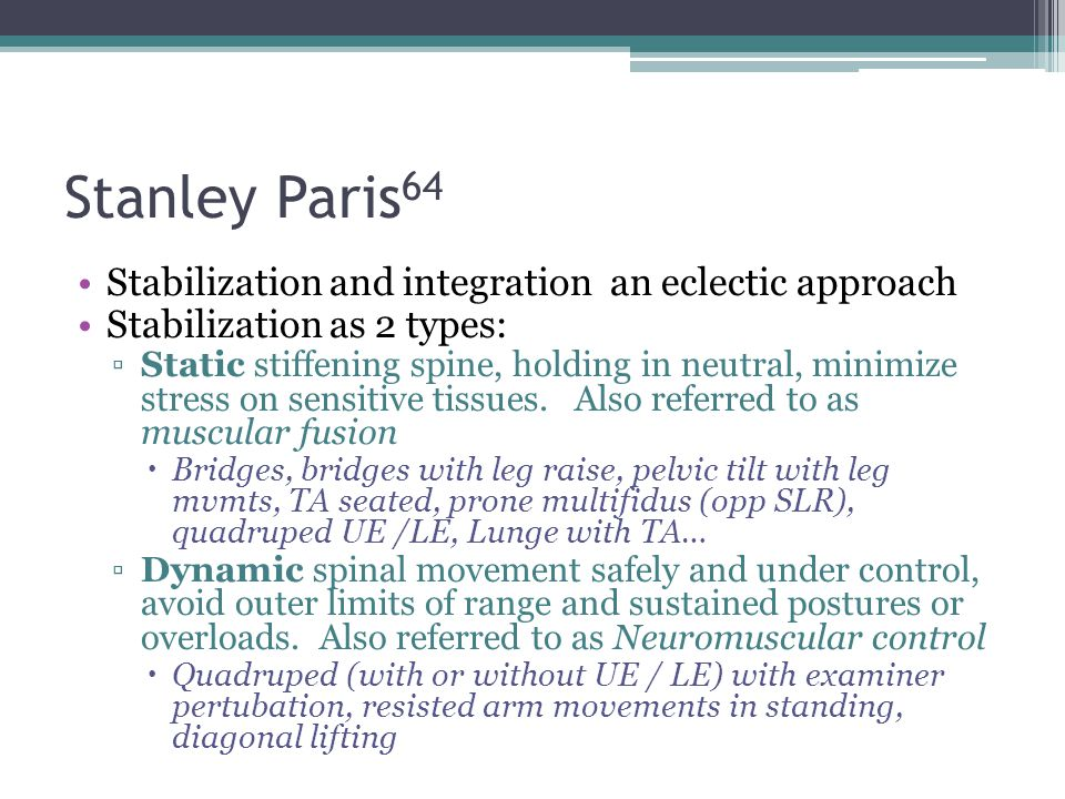 Stanley Paris64 Stabilization and integration an eclectic approach