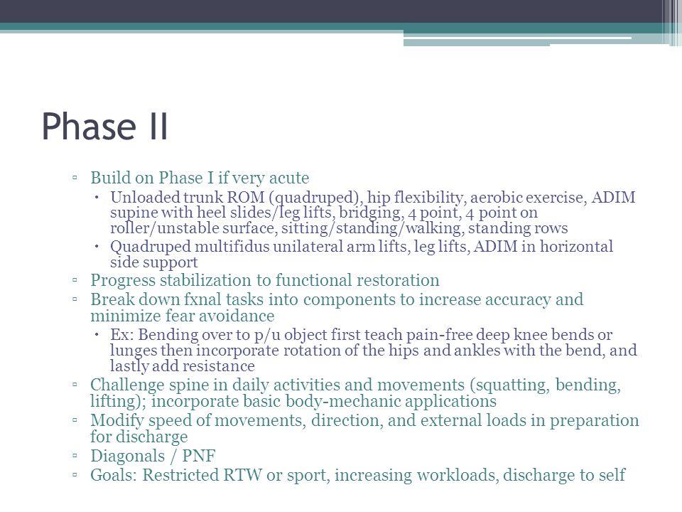 Phase II Build on Phase I if very acute