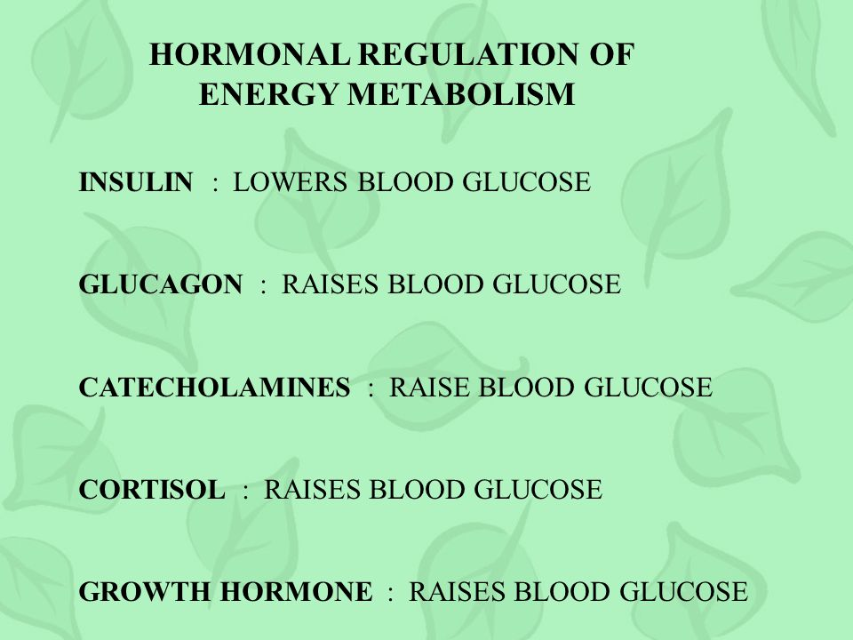 HORMONAL REGULATION OF ENERGY METABOLISM