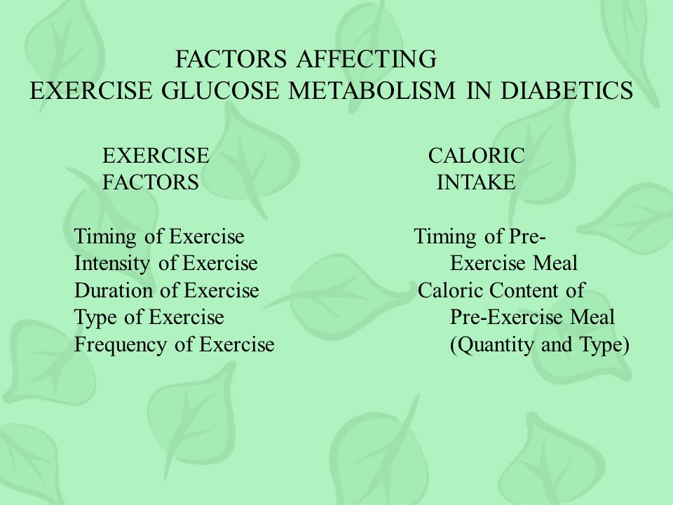 EXERCISE GLUCOSE METABOLISM IN DIABETICS