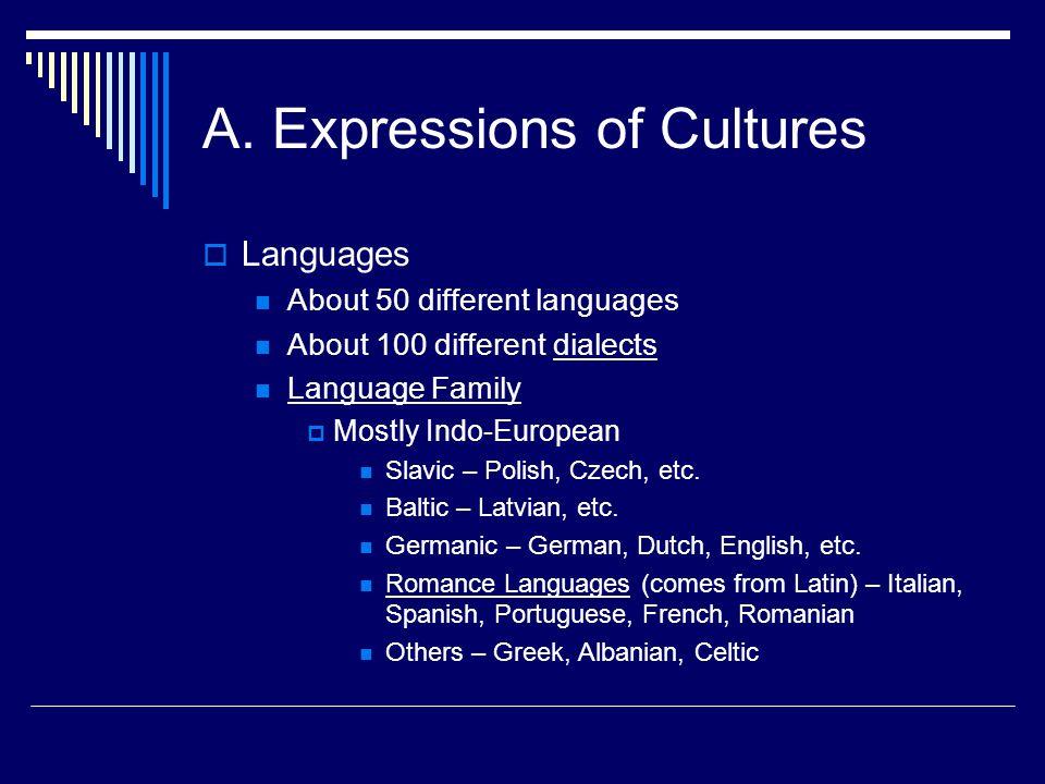 A. Expressions of Cultures