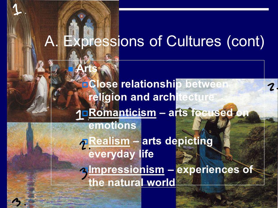 A. Expressions of Cultures (cont)
