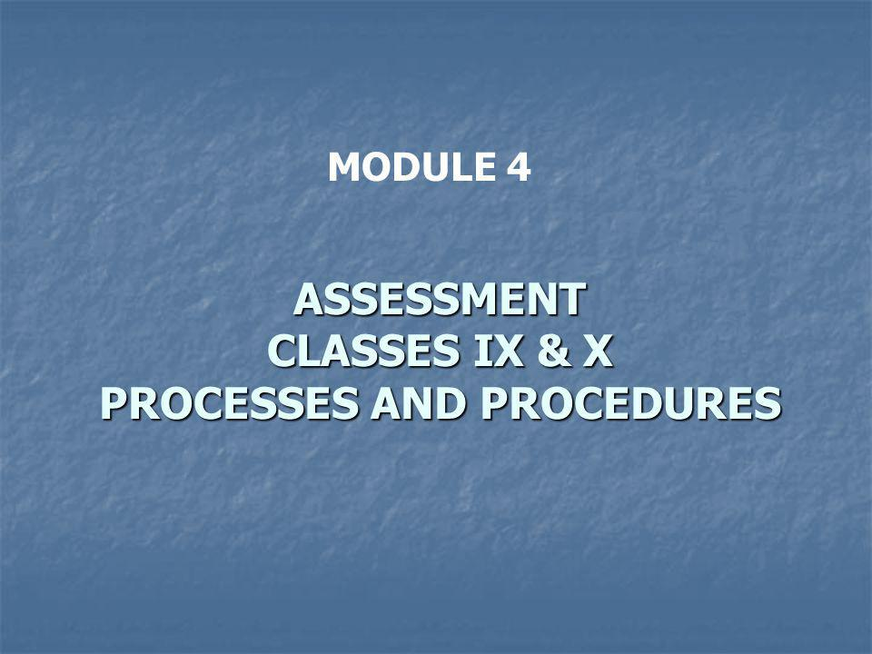 ASSESSMENT CLASSES IX & X PROCESSES AND PROCEDURES