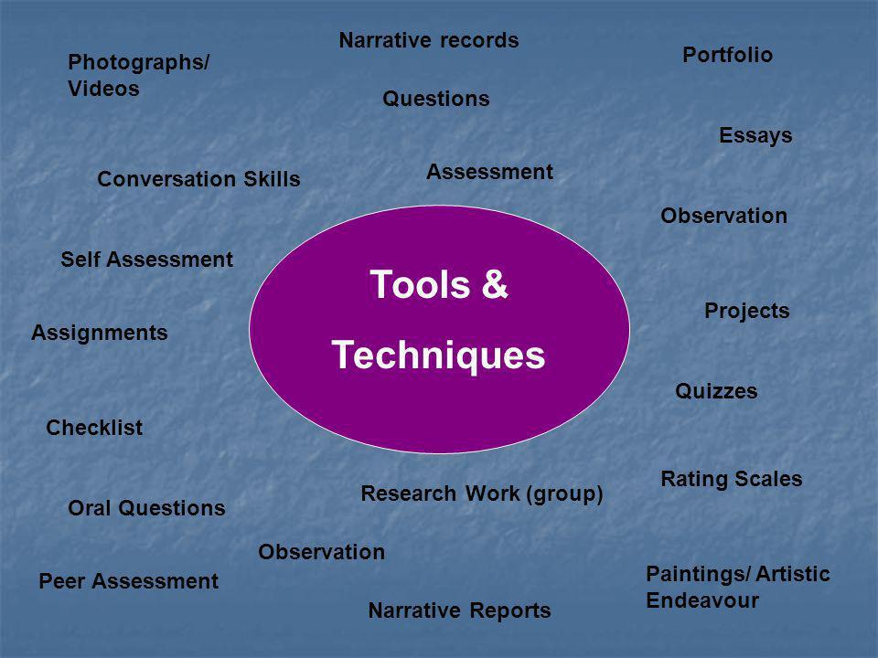 Tools & Techniques Narrative records Portfolio Photographs/ Videos