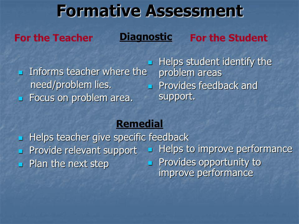 Formative Assessment For the Teacher Diagnostic For the Student