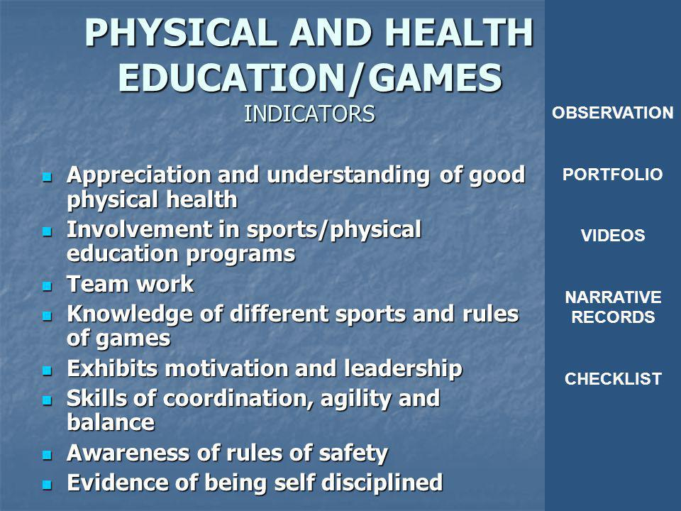 PHYSICAL AND HEALTH EDUCATION/GAMES INDICATORS
