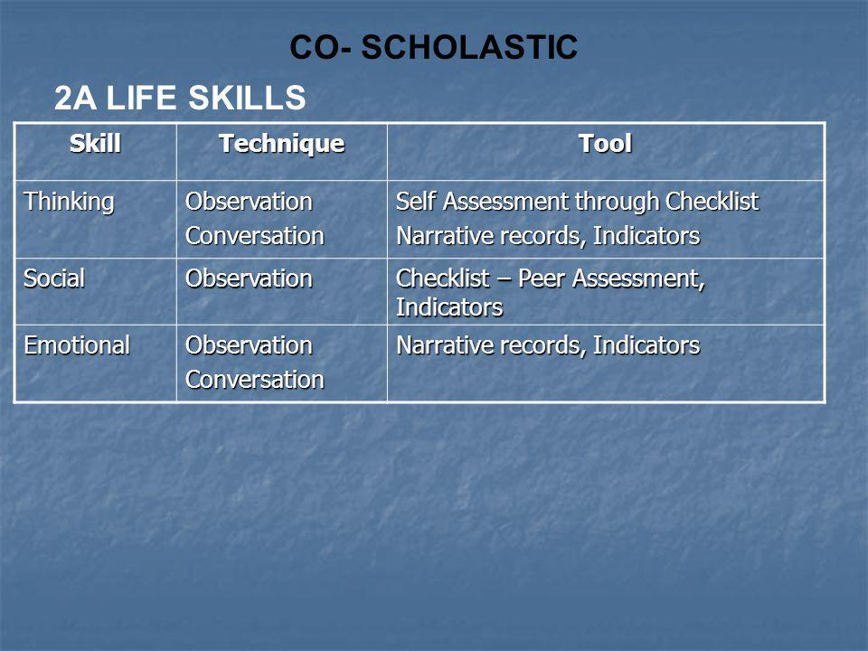 CO- SCHOLASTIC 2A LIFE SKILLS Skill Technique Tool Thinking