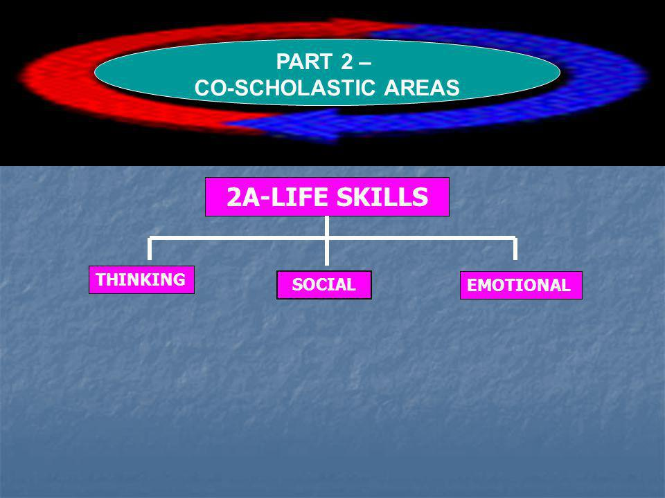 PART 2 – CO-SCHOLASTIC AREAS 2A-LIFE SKILLS THINKING SOCIAL EMOTIONAL