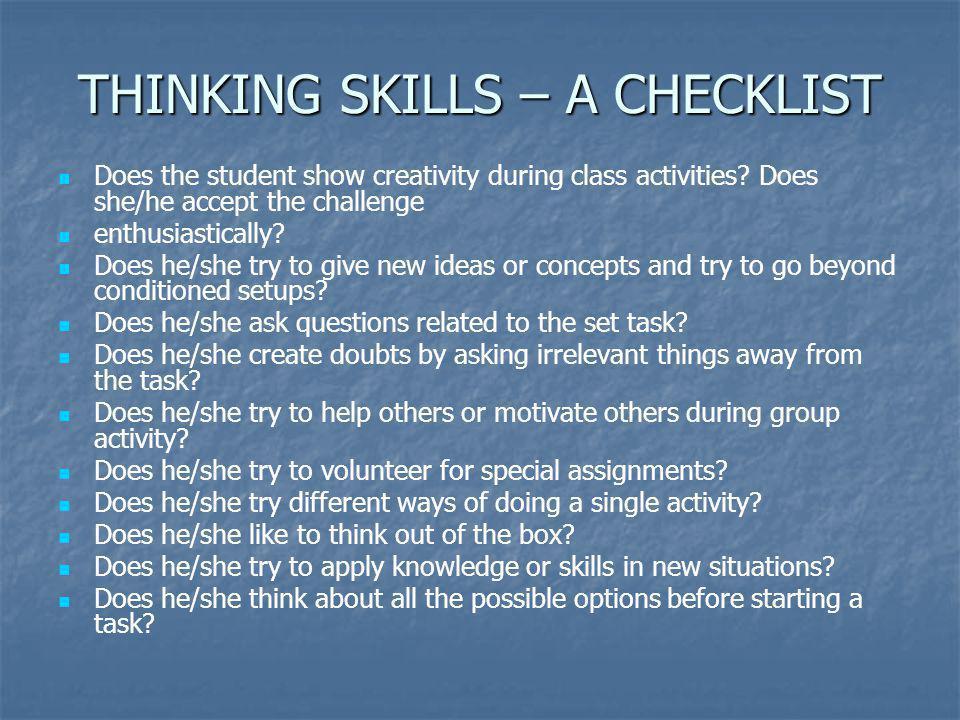 THINKING SKILLS – A CHECKLIST