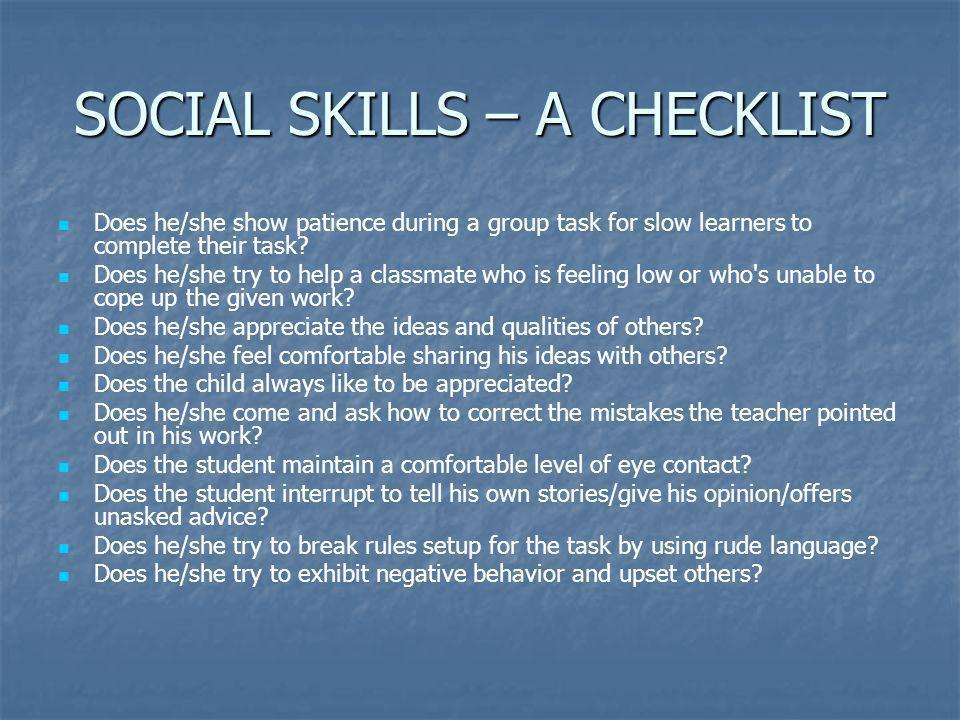 SOCIAL SKILLS – A CHECKLIST