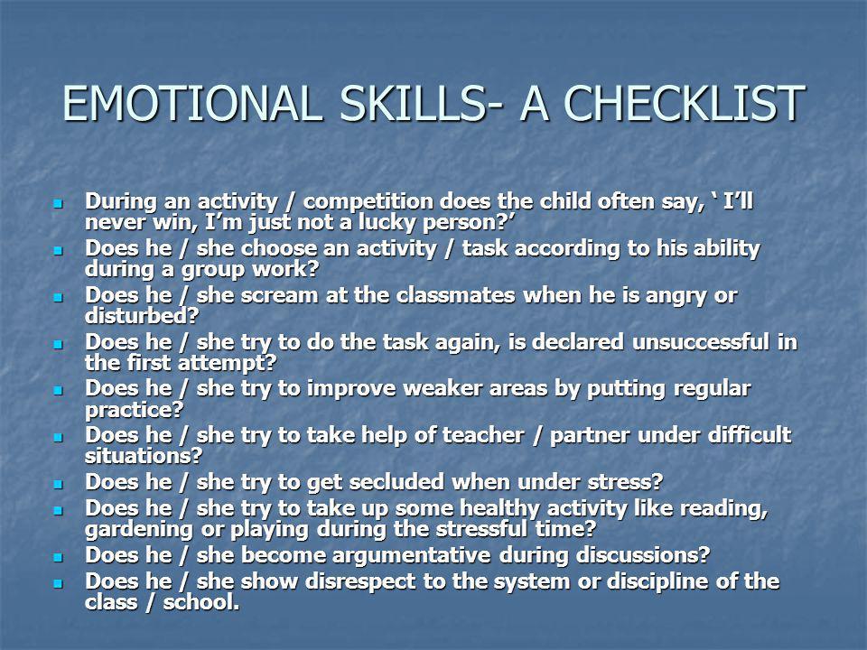 EMOTIONAL SKILLS- A CHECKLIST