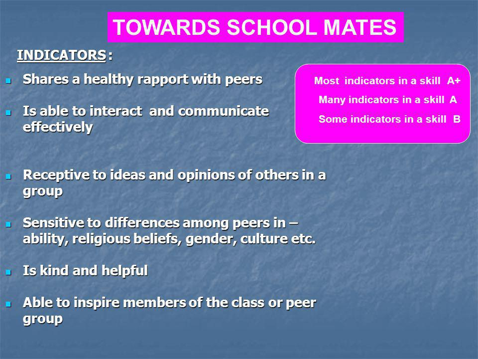 TOWARDS SCHOOL MATES INDICATORS : Shares a healthy rapport with peers