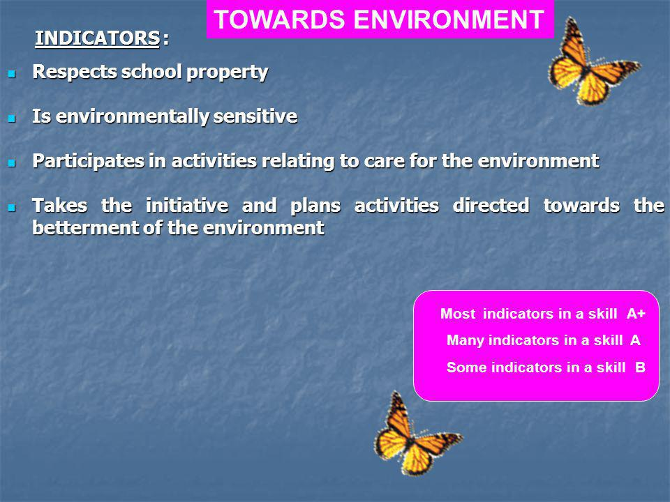 TOWARDS ENVIRONMENT INDICATORS : Respects school property