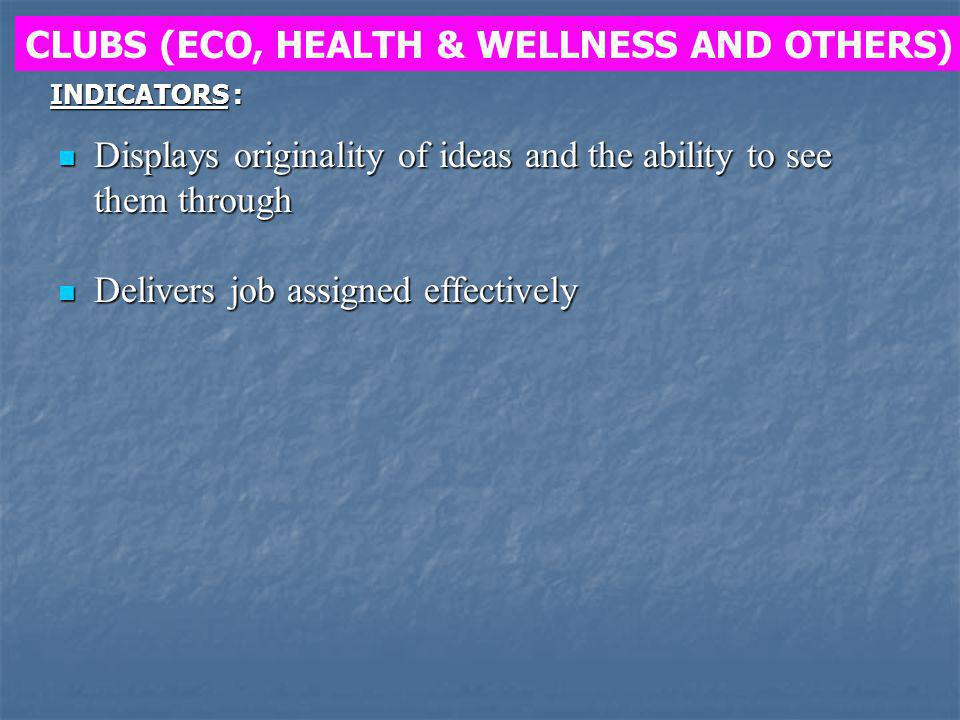 CLUBS (ECO, HEALTH & WELLNESS AND OTHERS)