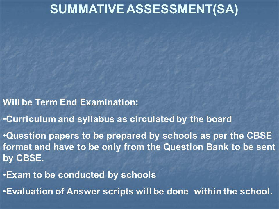 SUMMATIVE ASSESSMENT(SA)
