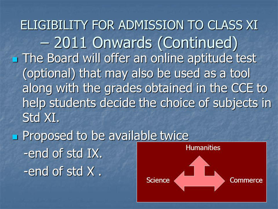 ELIGIBILITY FOR ADMISSION TO CLASS XI – 2011 Onwards (Continued)