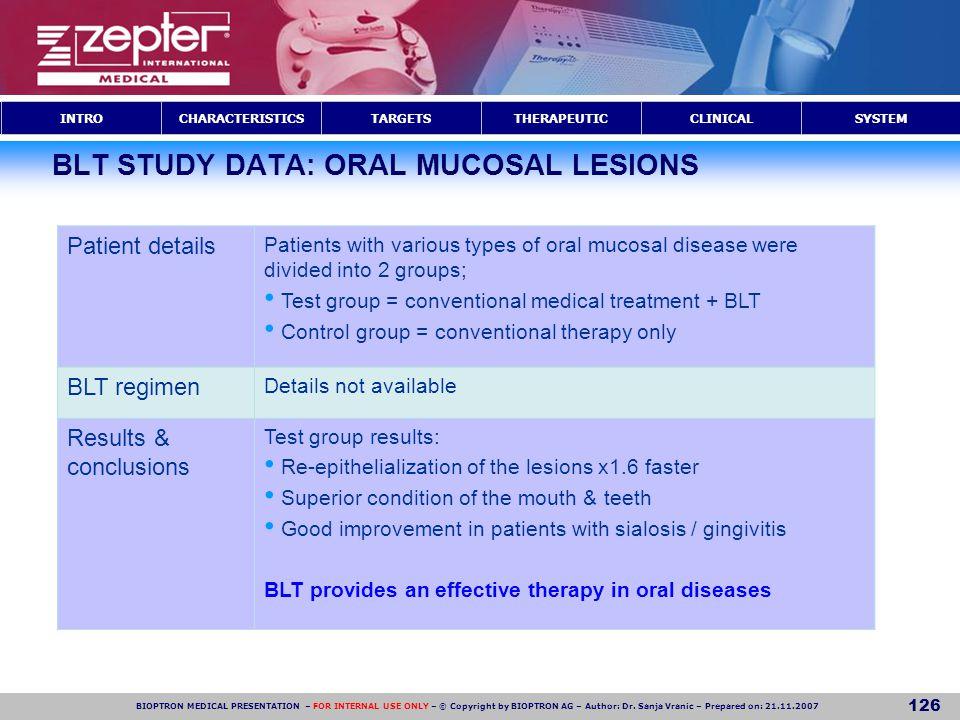 BLT STUDY DATA: ORAL MUCOSAL LESIONS