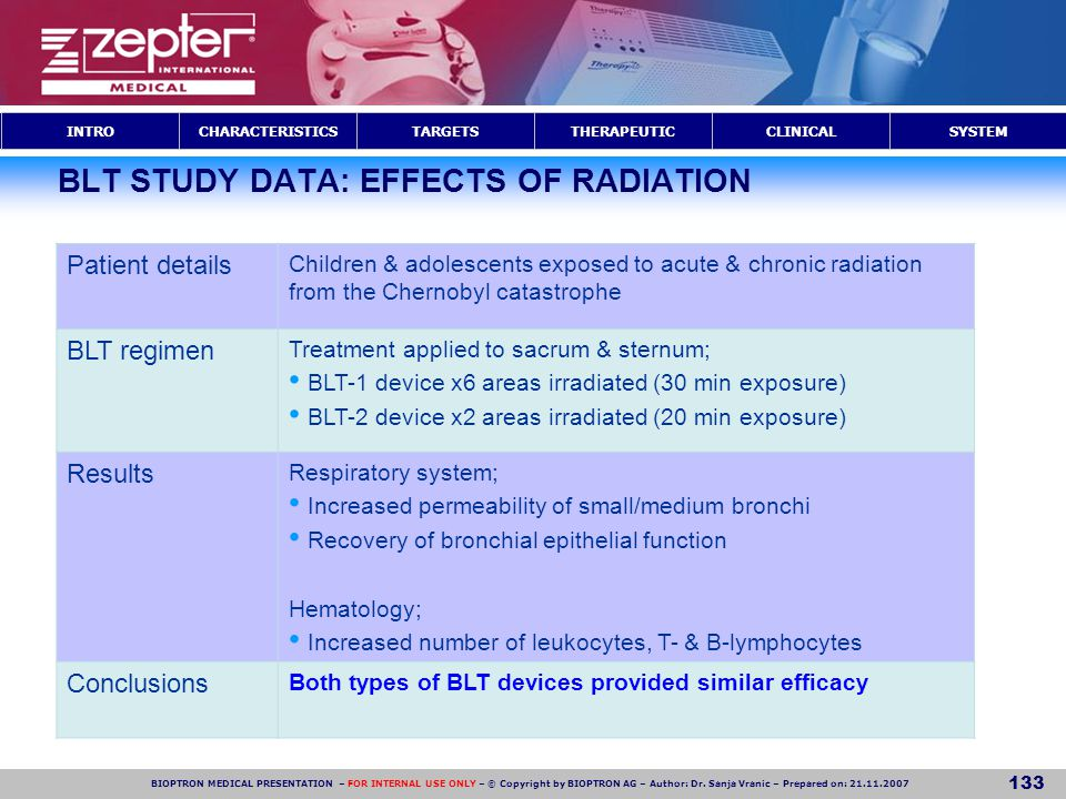 BLT STUDY DATA: EFFECTS OF RADIATION