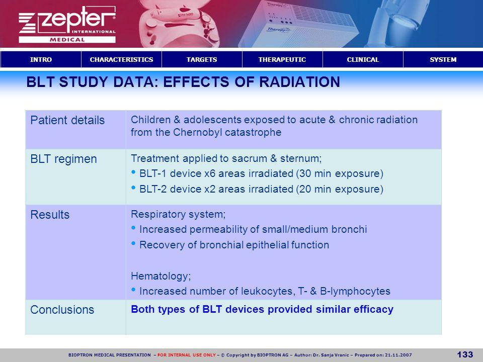 BLT STUDY DATA: EFFECTS OF RADIATION
