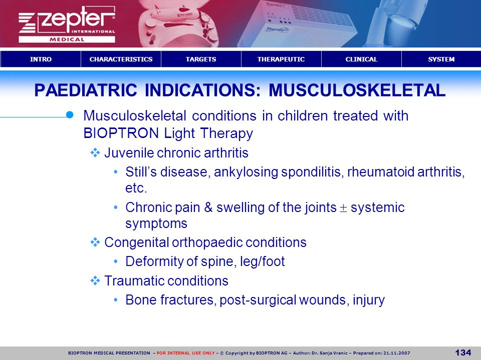 PAEDIATRIC INDICATIONS: MUSCULOSKELETAL