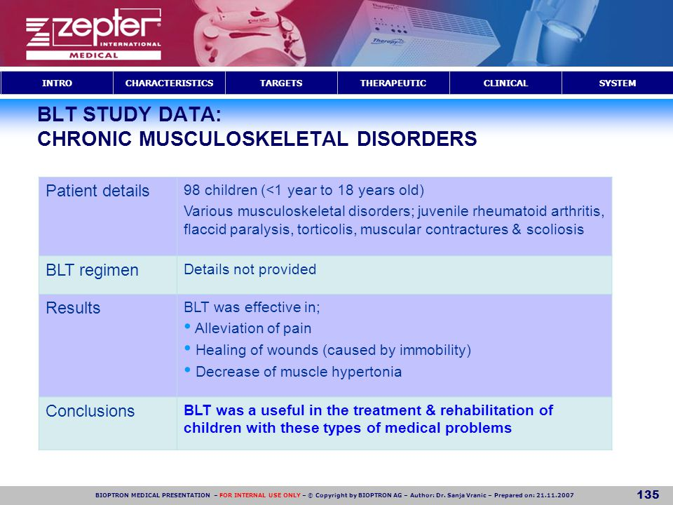 BLT STUDY DATA: CHRONIC MUSCULOSKELETAL DISORDERS