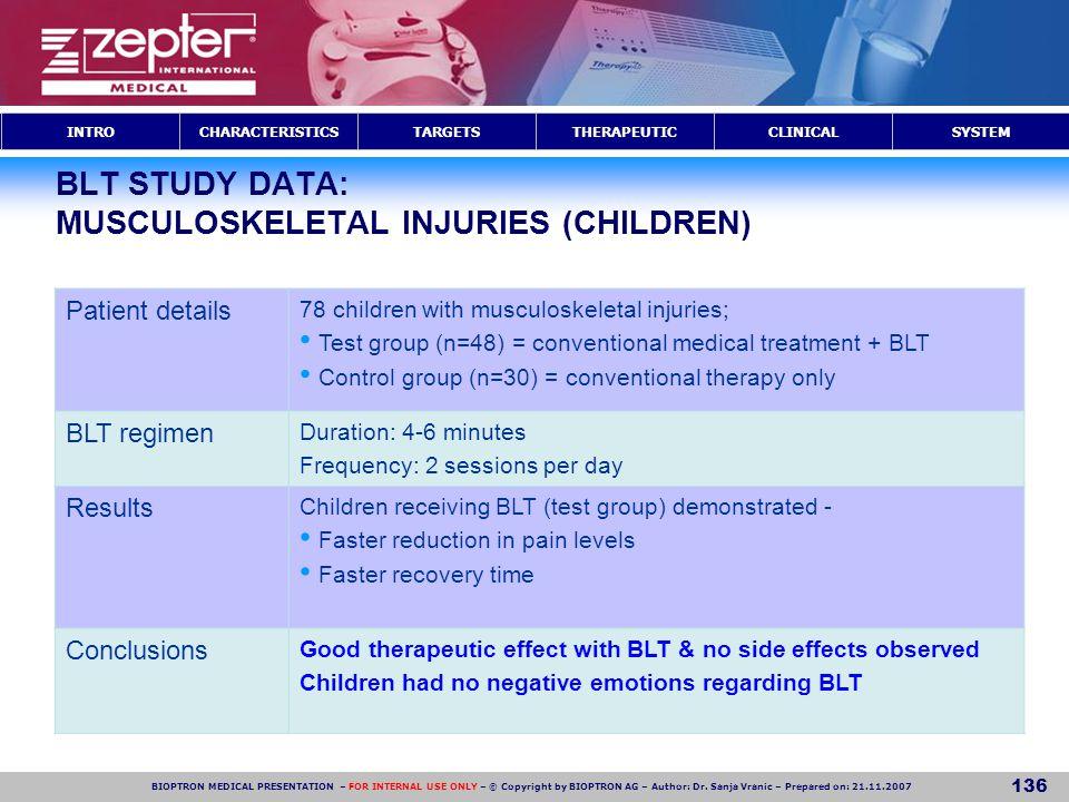 BLT STUDY DATA: MUSCULOSKELETAL INJURIES (CHILDREN)