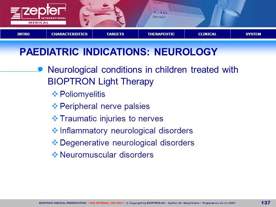 PAEDIATRIC INDICATIONS: NEUROLOGY