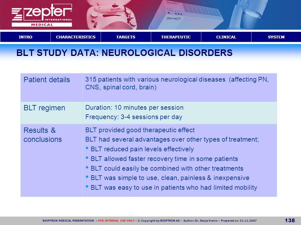 BLT STUDY DATA: NEUROLOGICAL DISORDERS