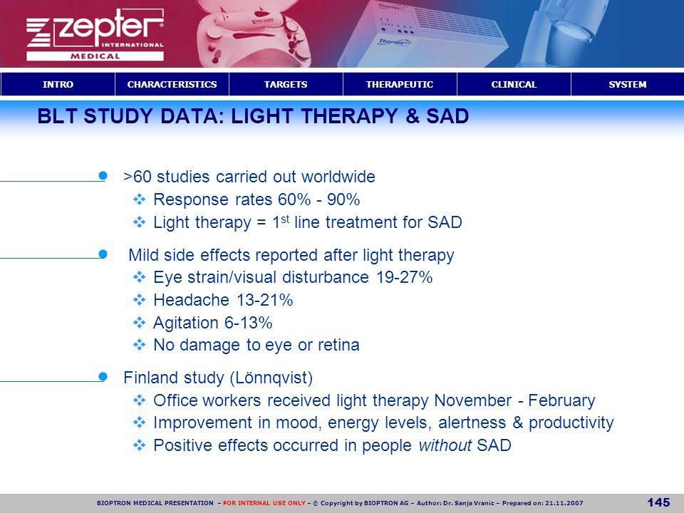 BLT STUDY DATA: LIGHT THERAPY & SAD