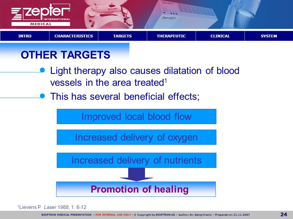 OTHER TARGETS Light therapy also causes dilatation of blood vessels in the area treated1. This has several beneficial effects;