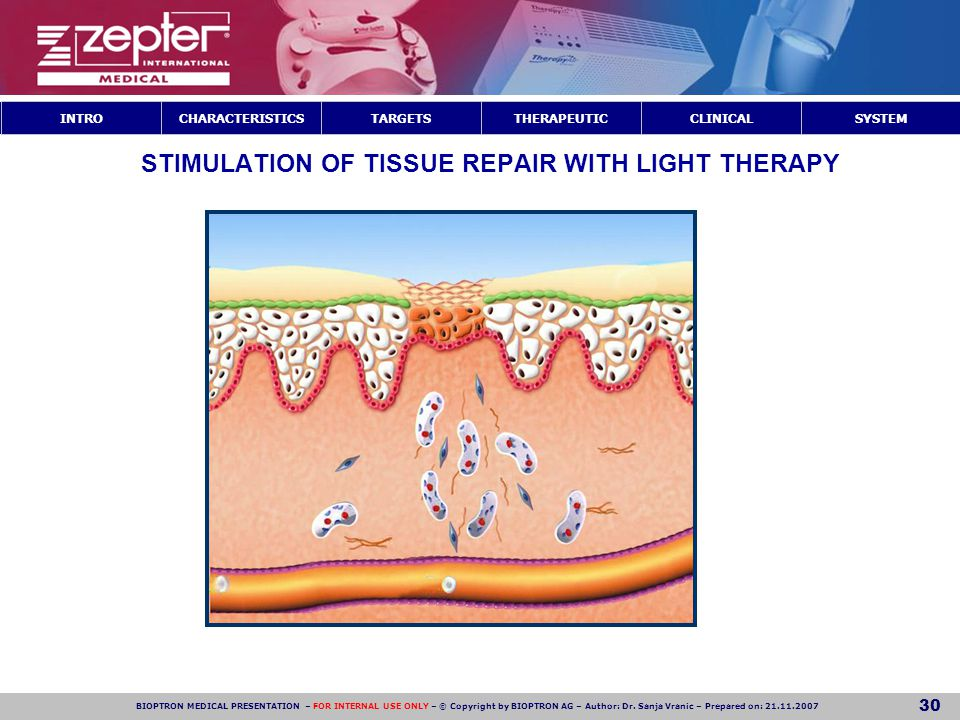 STIMULATION OF TISSUE REPAIR WITH LIGHT THERAPY