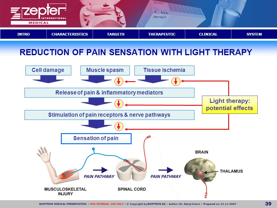 REDUCTION OF PAIN SENSATION WITH LIGHT THERAPY