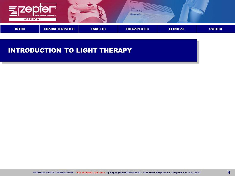 INTRODUCTION TO LIGHT THERAPY