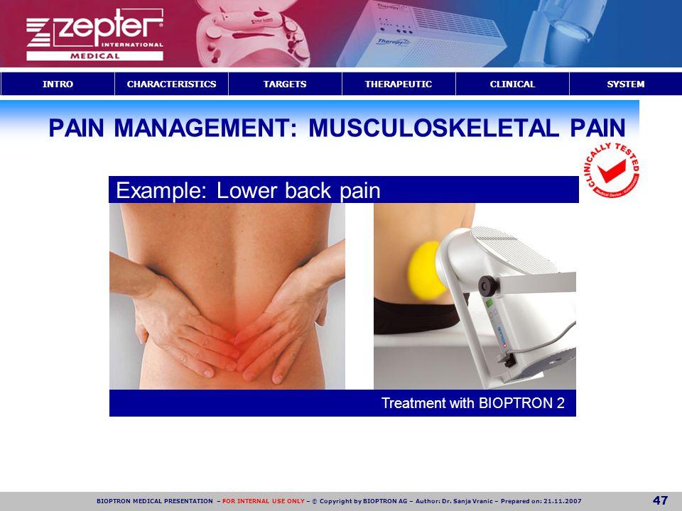 PAIN MANAGEMENT: MUSCULOSKELETAL PAIN