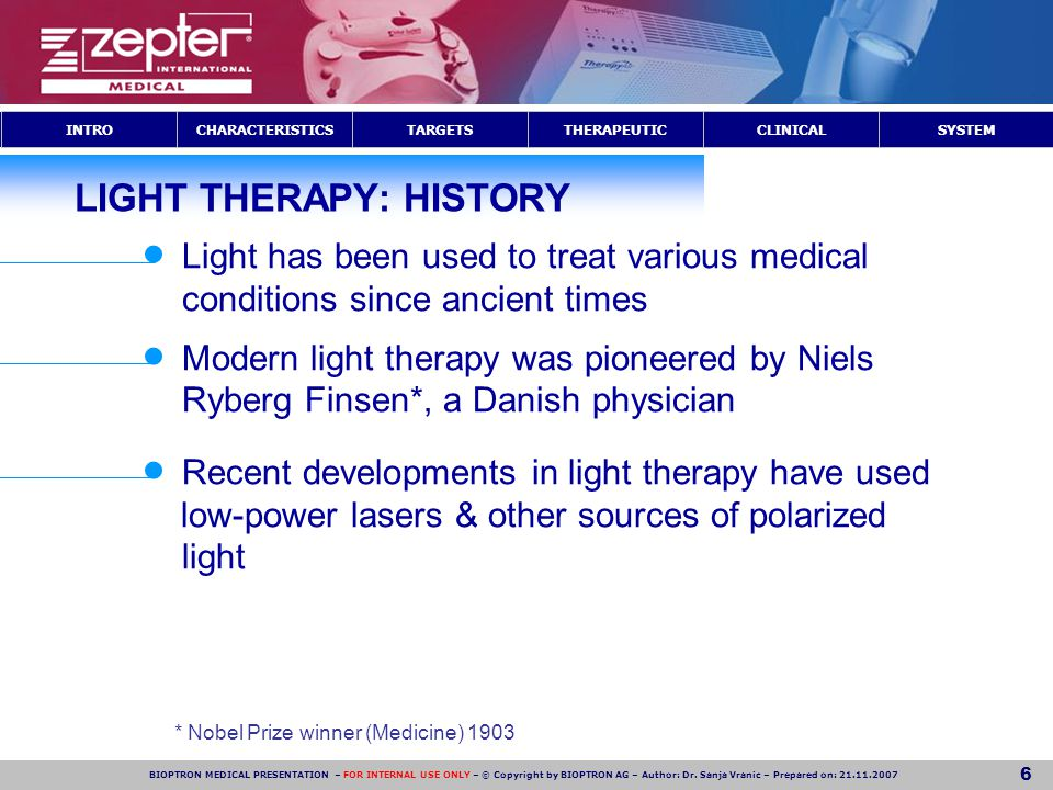 LIGHT THERAPY: HISTORY