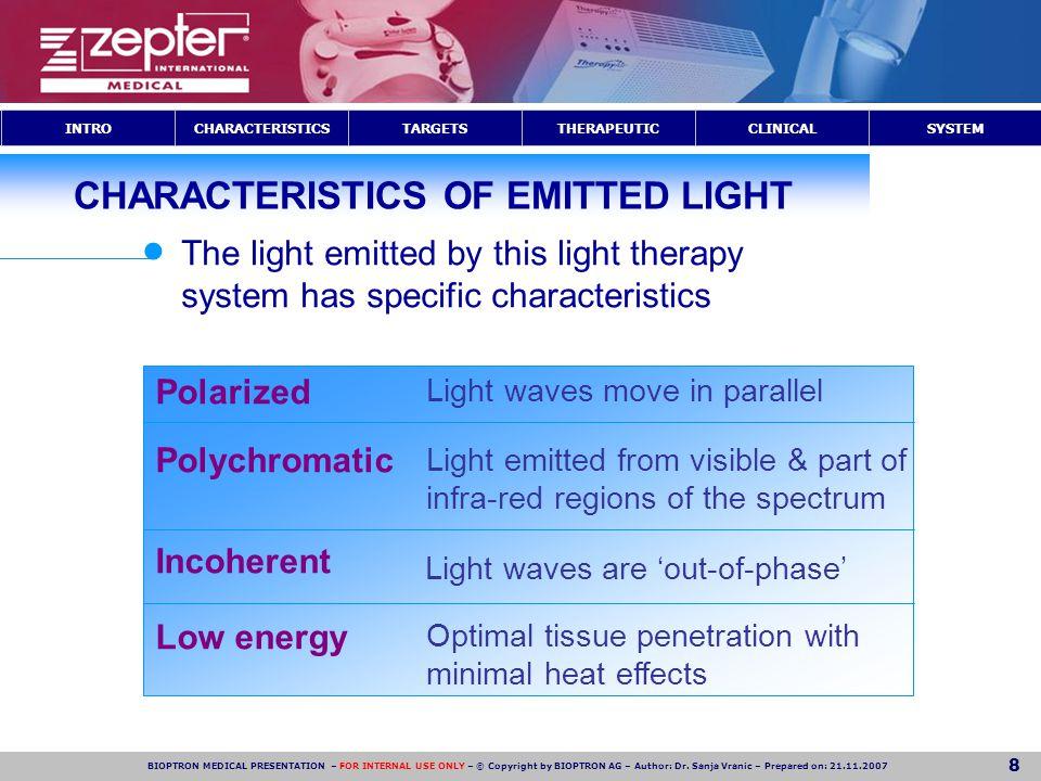 CHARACTERISTICS OF EMITTED LIGHT