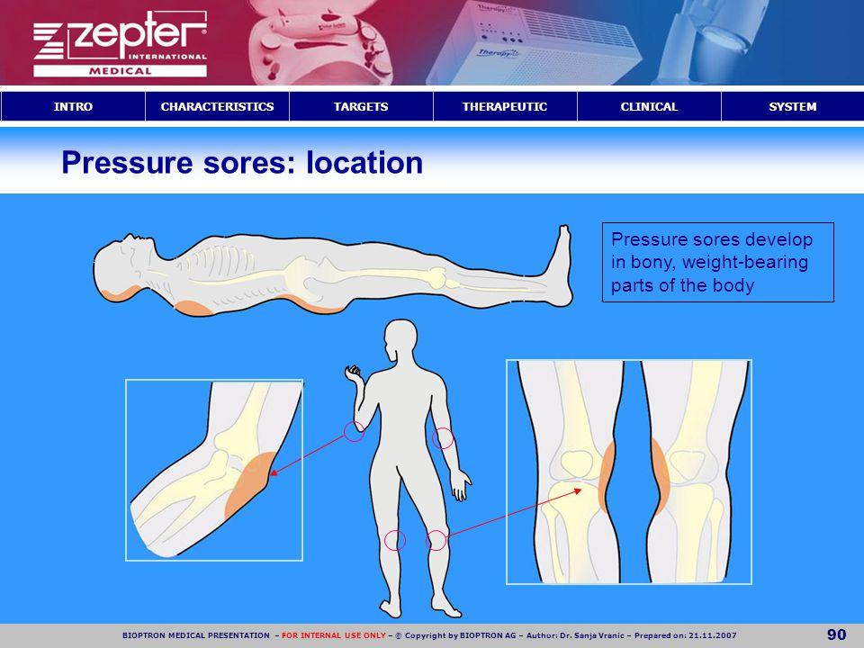 Pressure sores: location