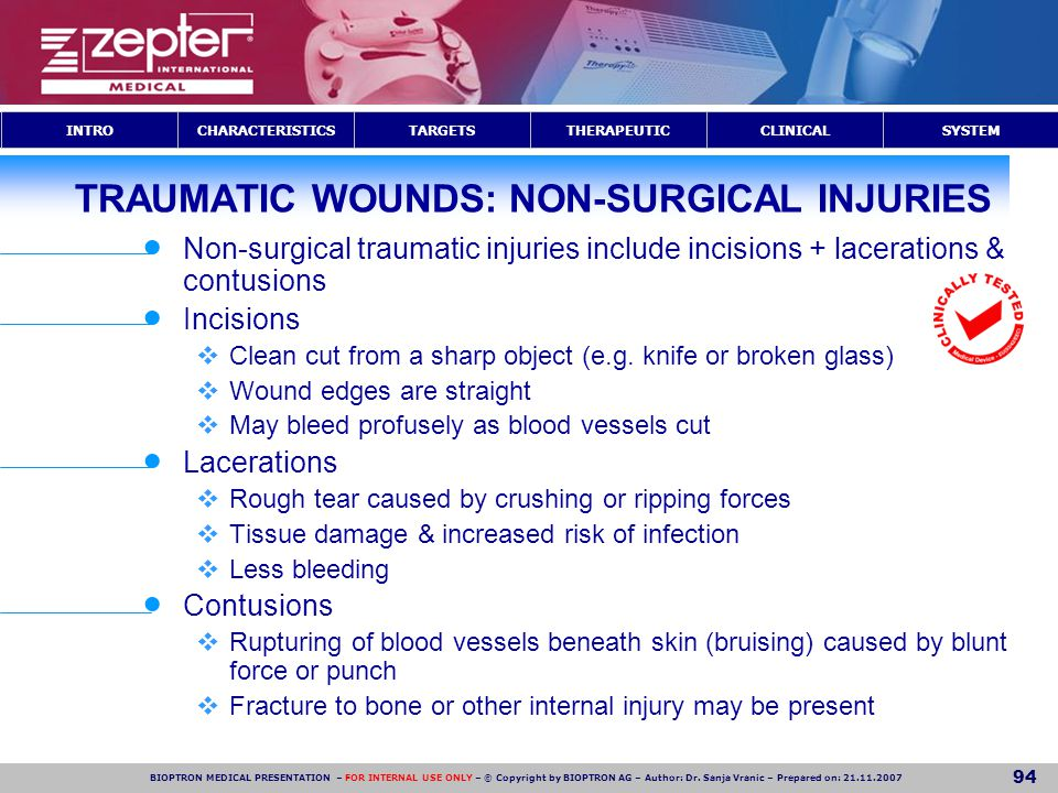 TRAUMATIC WOUNDS: NON-SURGICAL INJURIES