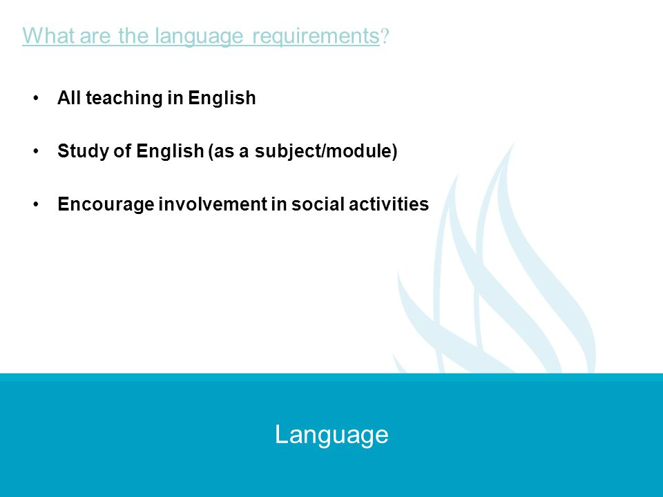 Language What are the language requirements All teaching in English