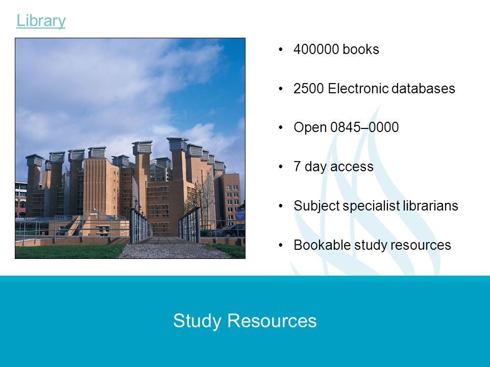 Study Resources Library 400000 books 2500 Electronic databases