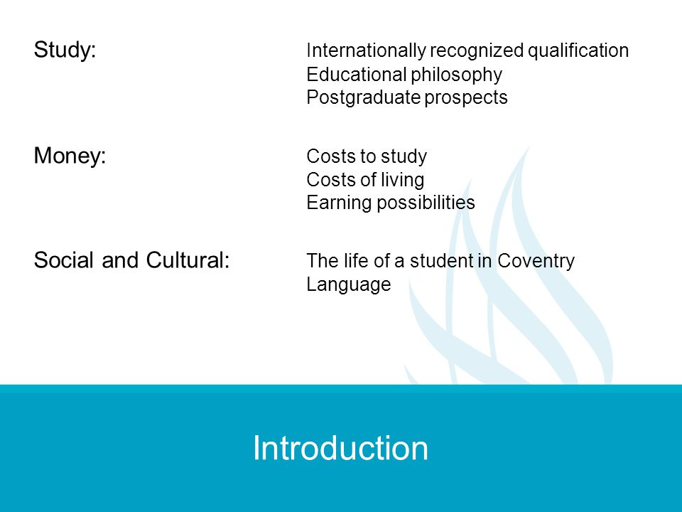 Introduction Study: Internationally recognized qualification