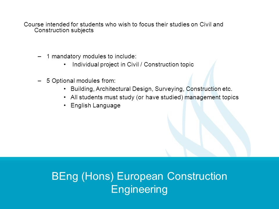 BEng (Hons) European Construction Engineering
