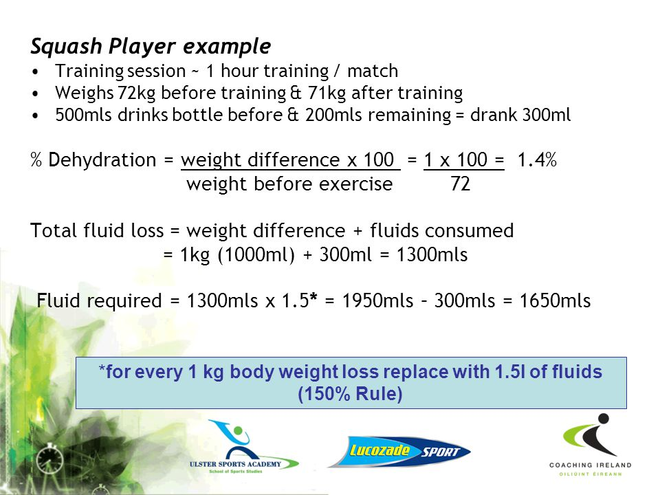 Squash Player example Training session ~ 1 hour training / match. Weighs 72kg before training & 71kg after training.