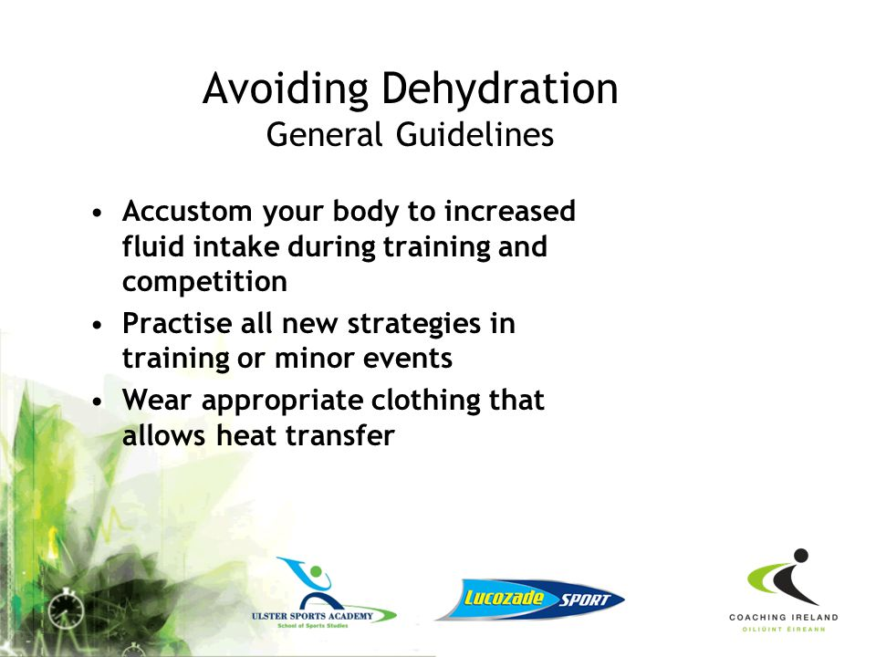 Avoiding Dehydration General Guidelines