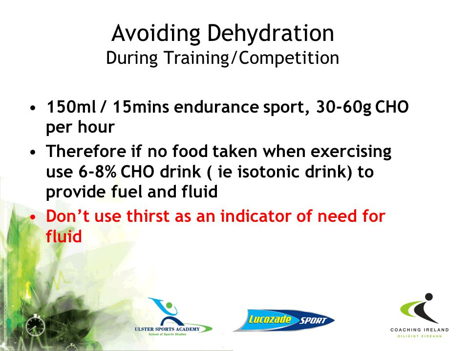Avoiding Dehydration During Training/Competition