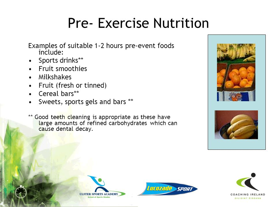 Pre- Exercise Nutrition
